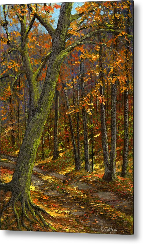 Landscape Metal Print featuring the painting Road In The Woods by Frank Wilson