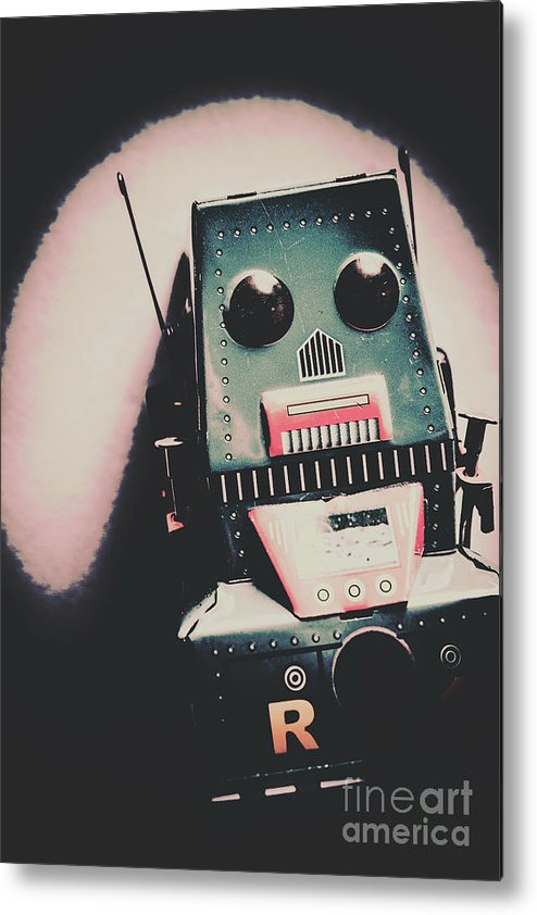 Robot Metal Print featuring the photograph Robotic Mech Under Vintage Spotlight by Jorgo Photography - Wall Art Gallery