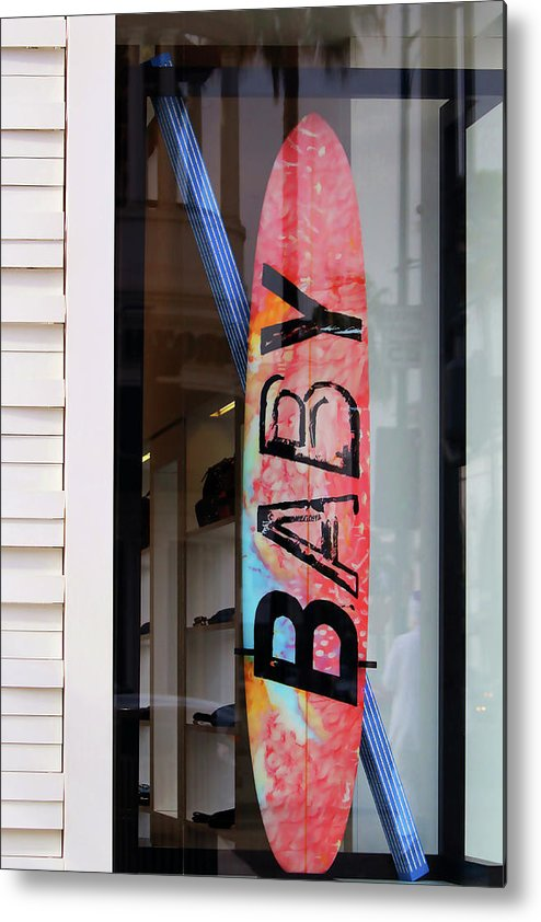 Beverly Hills Metal Print featuring the photograph Rodeo Drive Surfboard by Art Block Collections