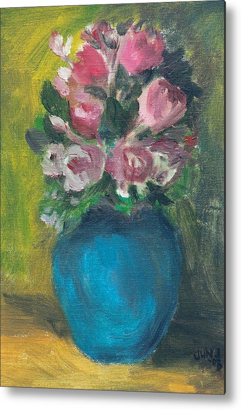 Roses Metal Print featuring the painting Roses by Jun Jamosmos