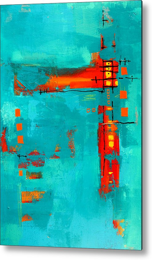 Turquoise Abstract Metal Print featuring the painting Rusty by Nancy Merkle