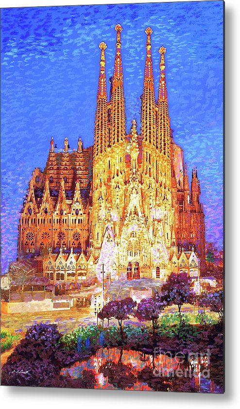 Spain Metal Print featuring the painting Sagrada Familia At Night by Jane Small