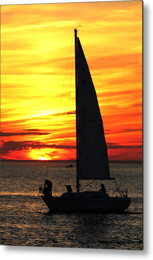 Sailing Metal Print featuring the photograph Sailboat Mount Sinai New York by Bob Savage