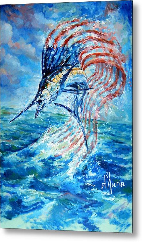 Sailfish Metal Print featuring the painting Sailfish Americana by Tom Dauria