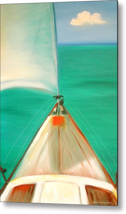 Sea Metal Print featuring the painting Sailing by Gina De Gorna