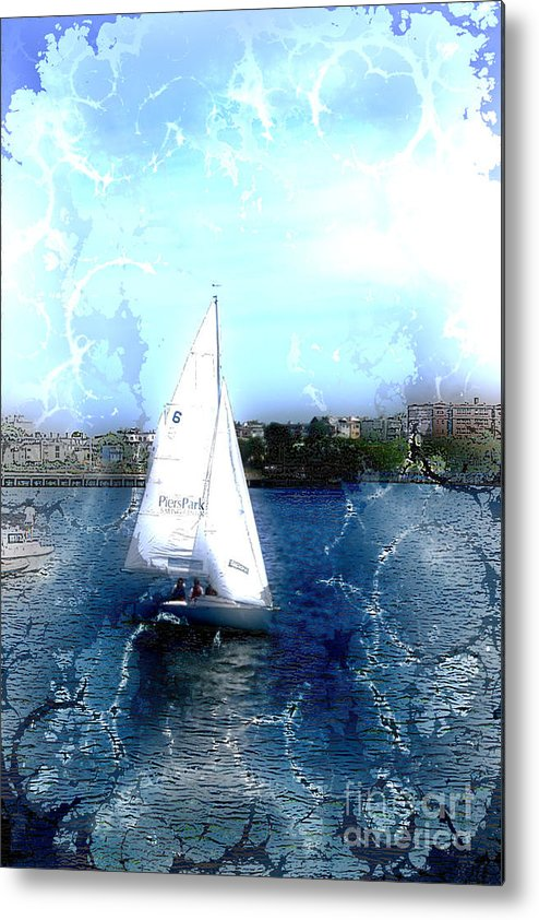 Sailboats Metal Print featuring the photograph Sailing In Boston Harbor by Julie Lueders