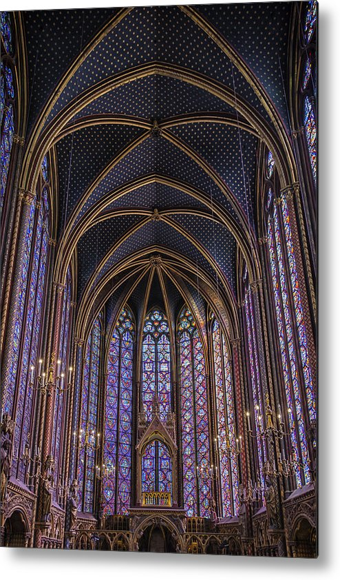 Joan Carroll Metal Print featuring the photograph Sainte Chapelle Stained Glass Paris by Joan Carroll
