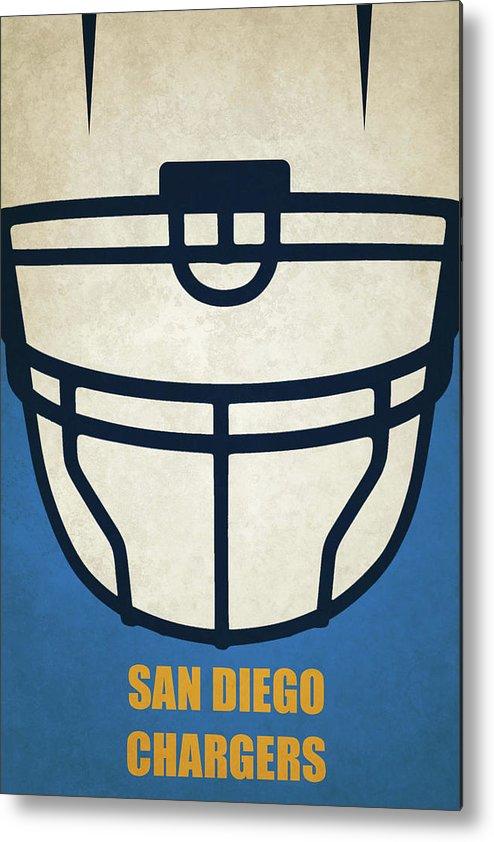 San Diego Chargers Helmet Art Metal Print By Joe Hamilton