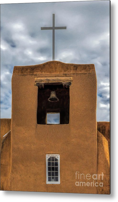 Cross Bell And Window Metal Print featuring the photograph San Miguel Mission by Jon Burch Photography