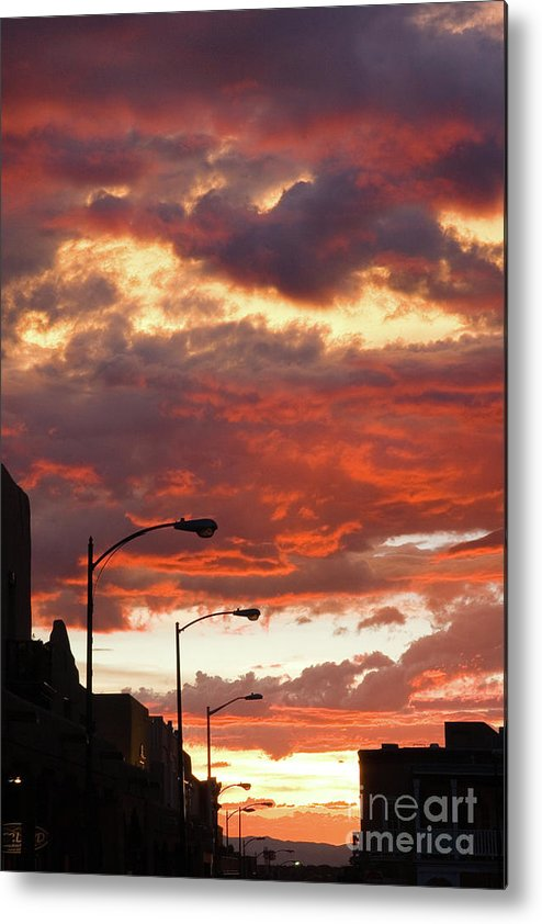 Cityscape Metal Print featuring the photograph Santa Fe At Dusk New Mexico by Julia Hiebaum