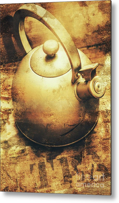 Sepia Toned Old Vintage Domed Kettle Metal Print by Jorgo ...