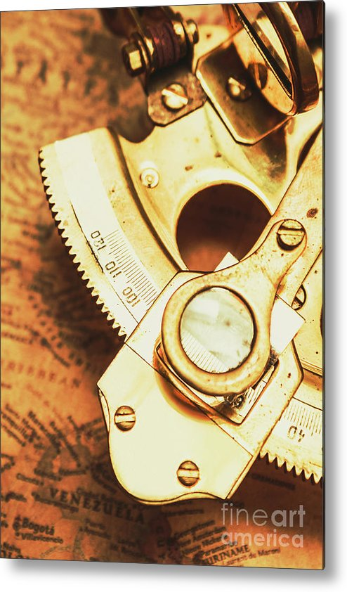 Navigation Metal Print featuring the photograph Sextant Sailing Navigation Tool by Jorgo Photography - Wall Art Gallery