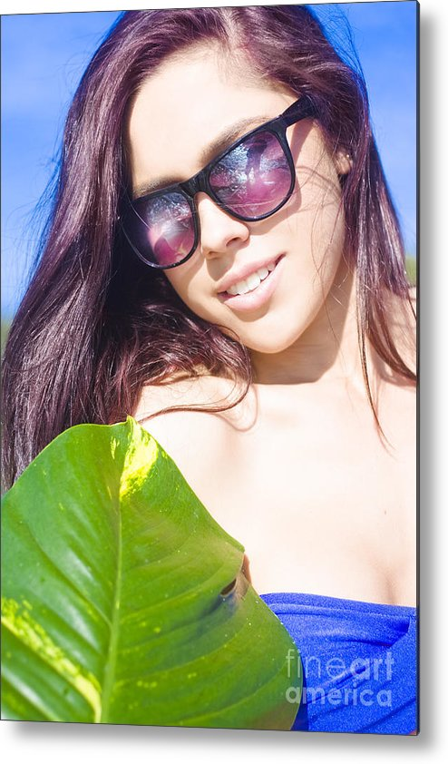 Attractive Metal Print featuring the photograph Sexy Beach Girl With Leaf by Jorgo Photography - Wall Art Gallery