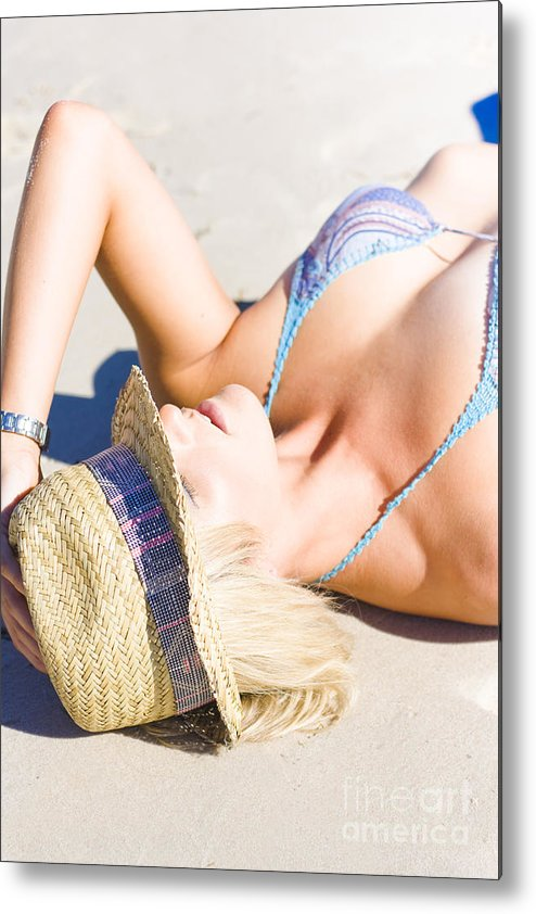 Adults Only Metal Print featuring the photograph Sexy Woman On Sand by Jorgo Photography - Wall Art Gallery