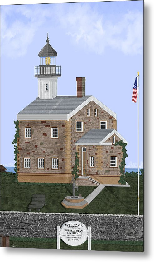 Lighthouse Metal Print featuring the painting Sheffield Island Lighthouse Connecticut by Anne Norskog