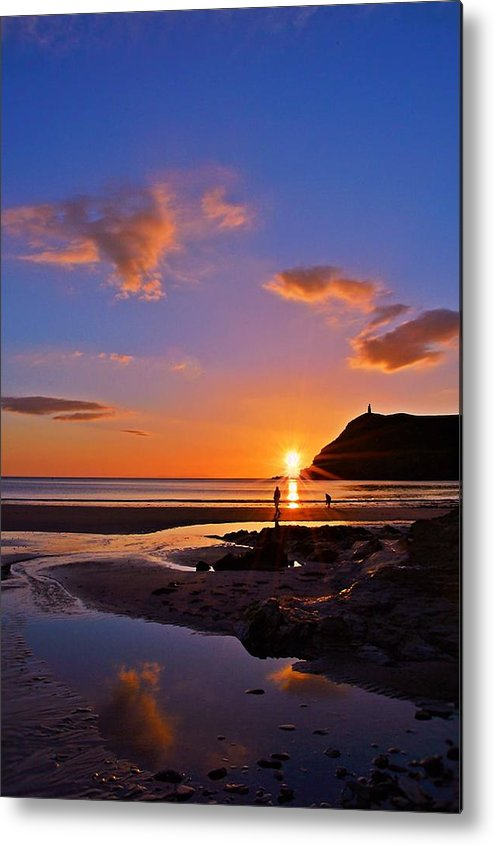 Autumn Sunset Over The Picturesque Beach Setting Of Port Erin In The Beautiful Metal Print featuring the photograph Shine On by Andrea Hawley
