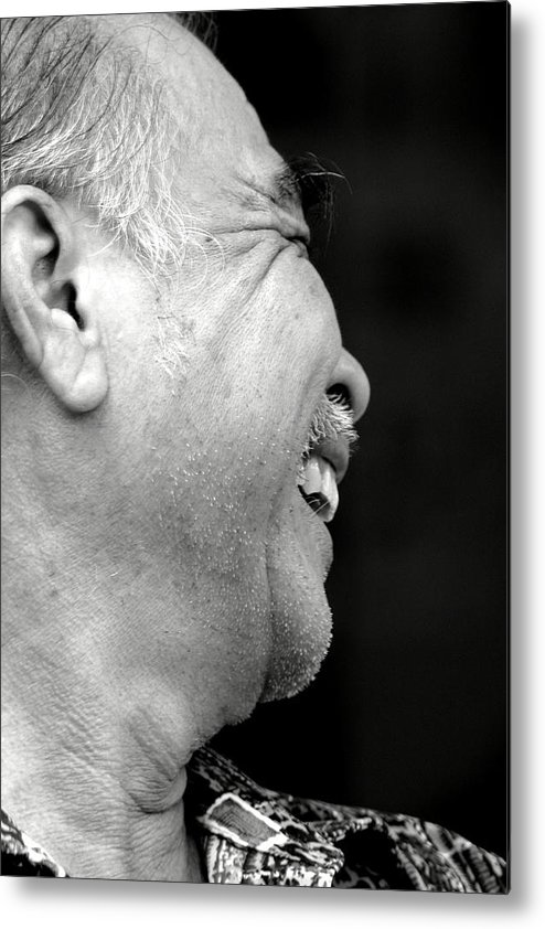 Portrait. Old Man Metal Print featuring the photograph Shy by Mark Mah