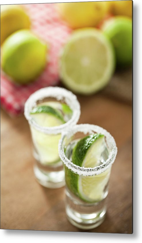 Vertical Metal Print featuring the photograph Silver Tequila, Limes And Salt by by Marion C. Haßold, www.marionhassold.com