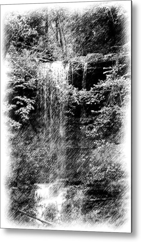 Digital Photograph Metal Print featuring the photograph Simulated Pencil Drawing Tinker Falls. by David Lane