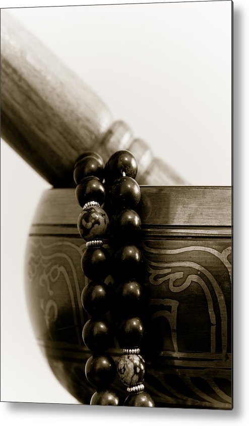 Buddhist Metal Print featuring the photograph Singing Bowl And Mala by Edward Myers