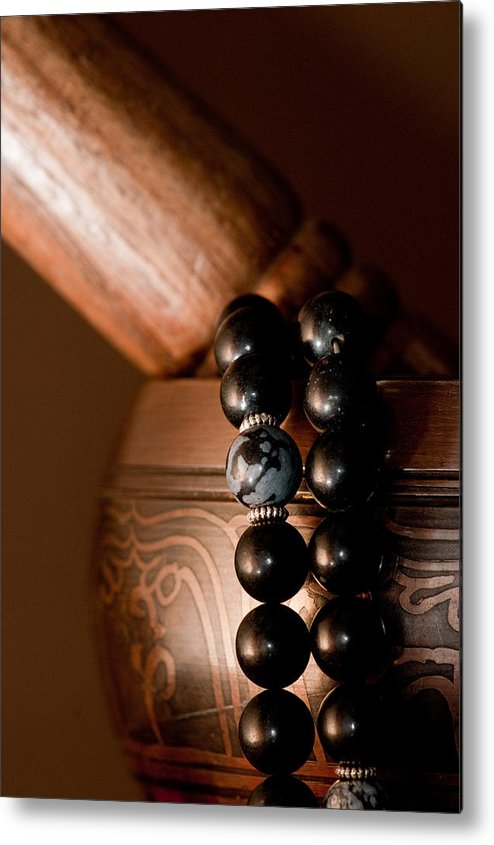 Buddhist Metal Print featuring the photograph Singing Bowl And Mala In Color by Edward Myers