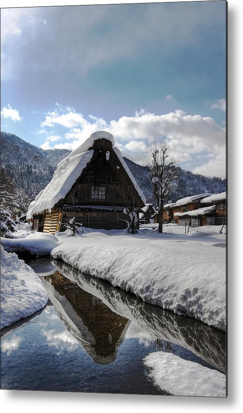Snow Metal Print featuring the photograph Snowy House by Kean Poh Chua