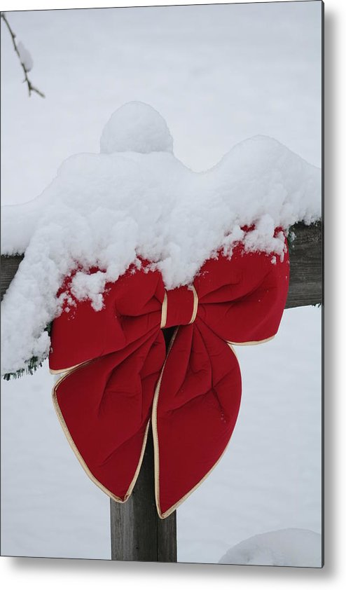 Red Metal Print featuring the photograph Snowy Red Bow by Pamela Smith