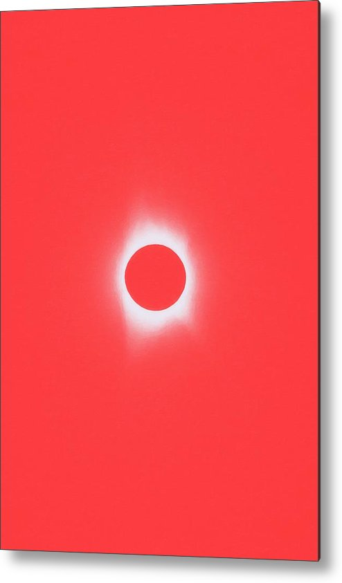 Sun Metal Print featuring the painting Solar Eclipse, Saros Cycle In Red Candy Color by Celestial Images