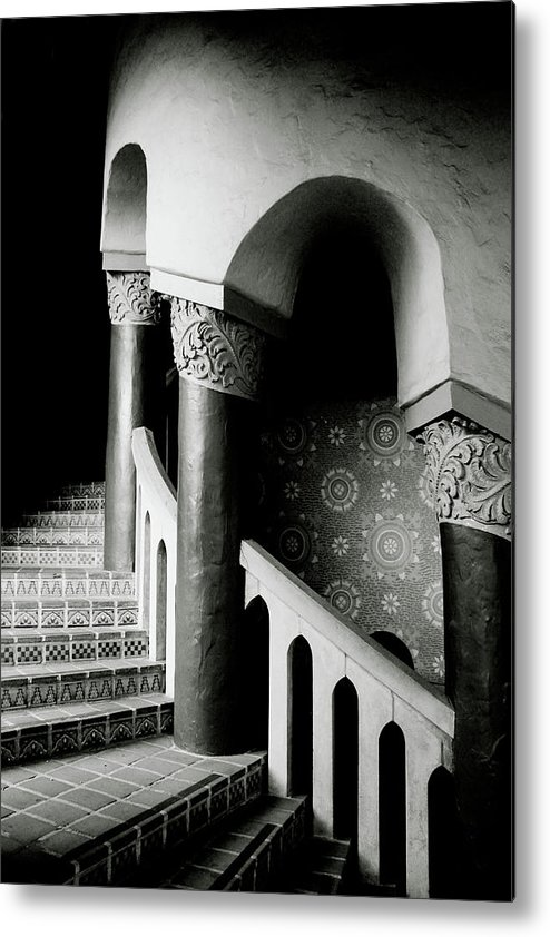 Stairs Metal Print featuring the mixed media Spiral Stairs- Black And White Photo By Linda Woods by Linda Woods