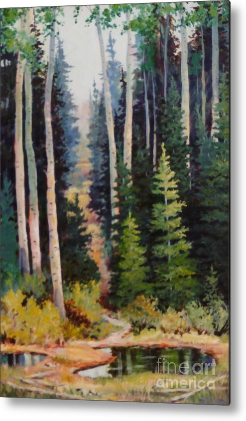 Spring Metal Print featuring the painting Spring Wood Path by JoAnne Corpany
