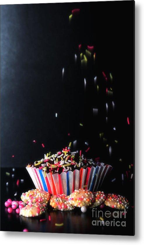 Cup Metal Print featuring the digital art Sprinkles On Cup Cakes by Nigel Bangert