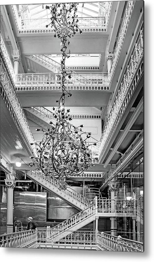 Beau Stairway Metal Print Featuring The Photograph Stairway   Chandelier By  Nikolyn McDonald