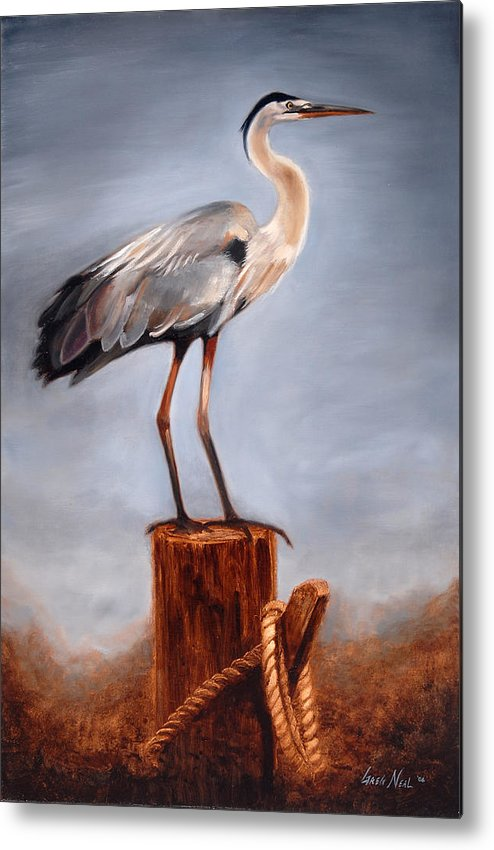 Heron Metal Print featuring the painting Standing Watch by Greg Neal