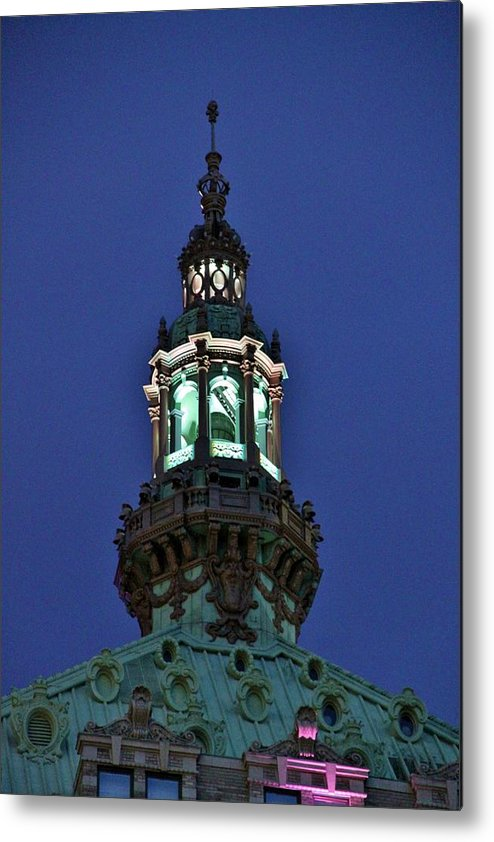 New York Metal Print featuring the photograph Steeple Lights by Benji Alexander Palus