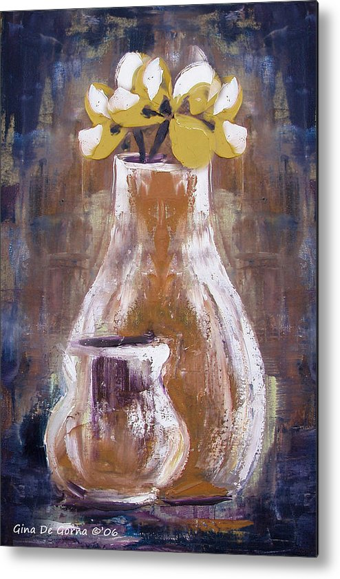 Still Life Metal Print featuring the painting Still Life With Yellow Flowers by Gina De Gorna