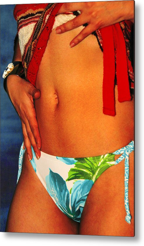 Female Metal Print featuring the photograph Stomach by Tom Miles