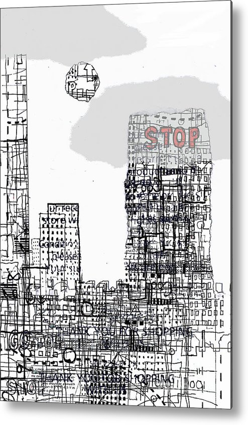 City Metal Print featuring the digital art Stop II by Andy Mercer