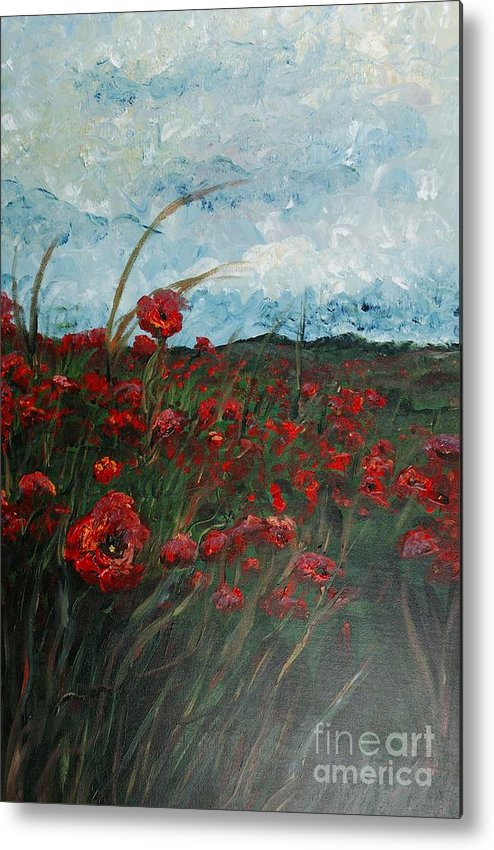 Poppies Metal Print featuring the painting Stormy Poppies by Nadine Rippelmeyer