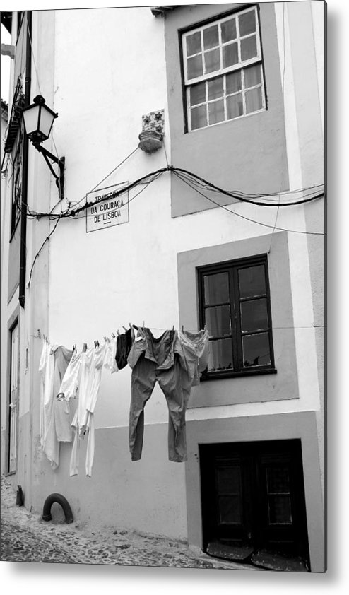 Porto Metal Print featuring the photograph street in Porto with hanging clothes by Eazudesign