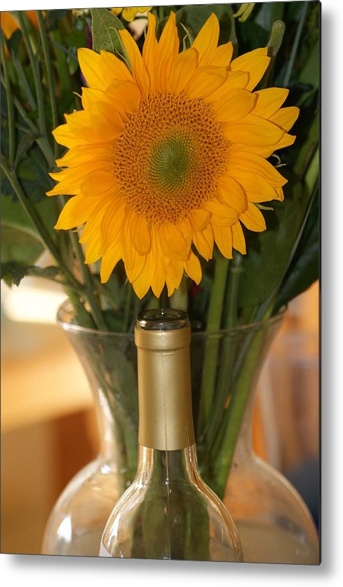 Sunflower Metal Print featuring the photograph Sunflower In A Bottle Or Is It Vase. by Liz Vernand