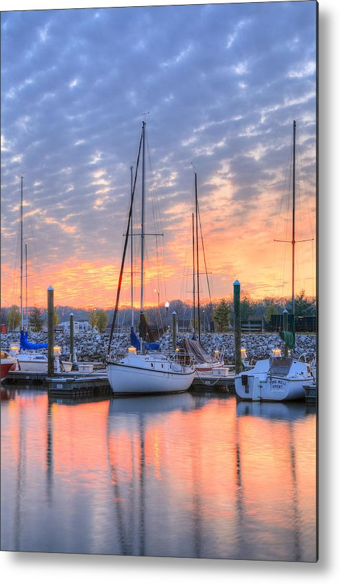 Alexandria Va Virginia Washington Dc Potomac River Sunrise Sunset Joint Base Anacostia Bolling Afb Marina Harbor Boat Sailboat Sail Power Powerboat Metal Print featuring the photograph Sunrise Splendor by JC Findley