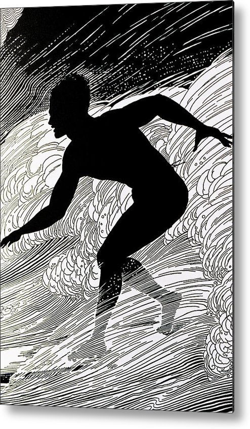 1930 Metal Print featuring the painting Surfer by Hawaiian Legacy Archive - Printscapes