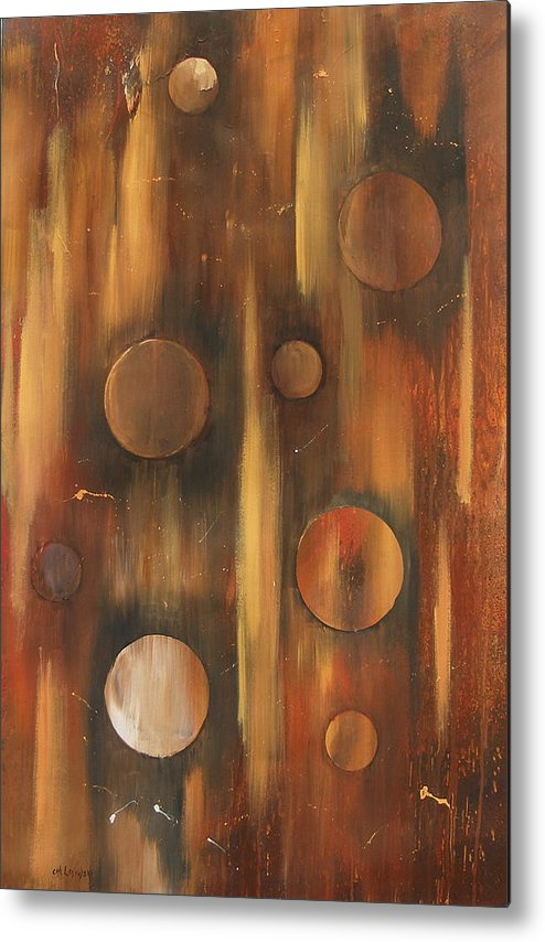 Tear Drops Tears Drops Abstract Painting Rings Metal Print featuring the painting Tear Drops by Miroslaw Chelchowski