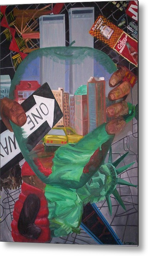 New York Metal Print featuring the painting The Big Apple by Lauren Luna