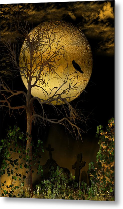 Crow Metal Print featuring the painting The Crow by Emma Alvarez