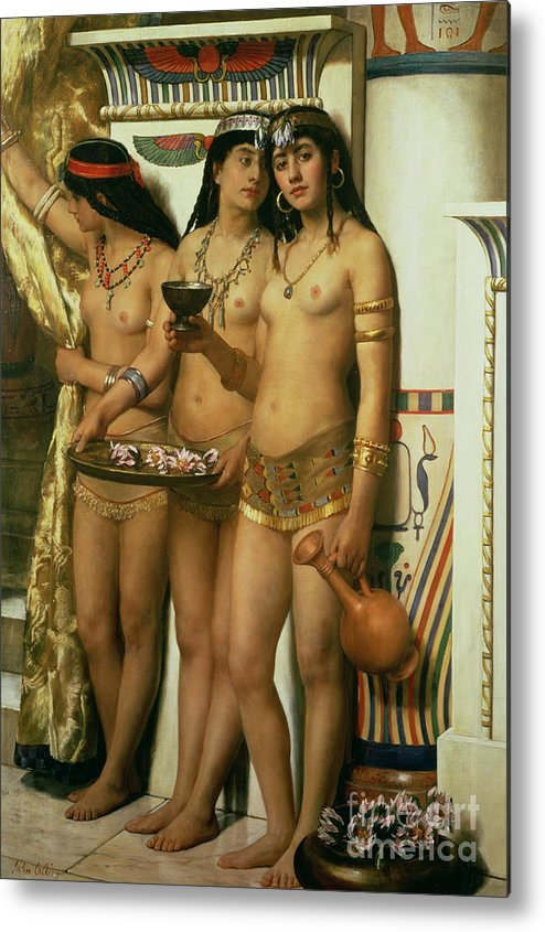 Royalty Metal Print featuring the painting The Handmaidens Of Pharaoh by John Collier