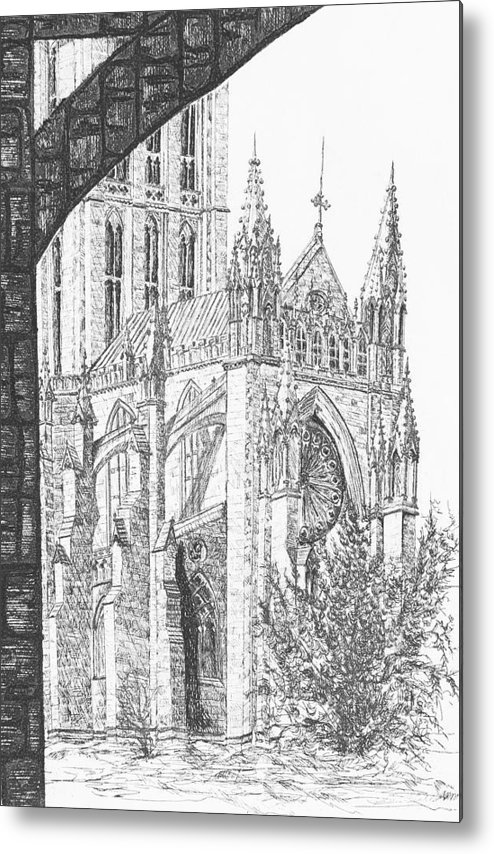 Etching Metal Print featuring the drawing The National Cathedral by Victoria Shea