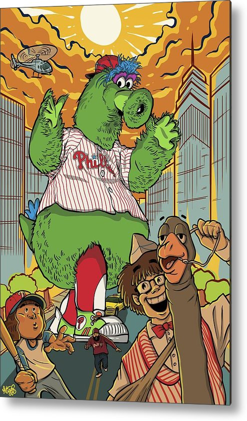 Philly Metal Print featuring the drawing The Pherocious Phanatic by Miggs The Artist