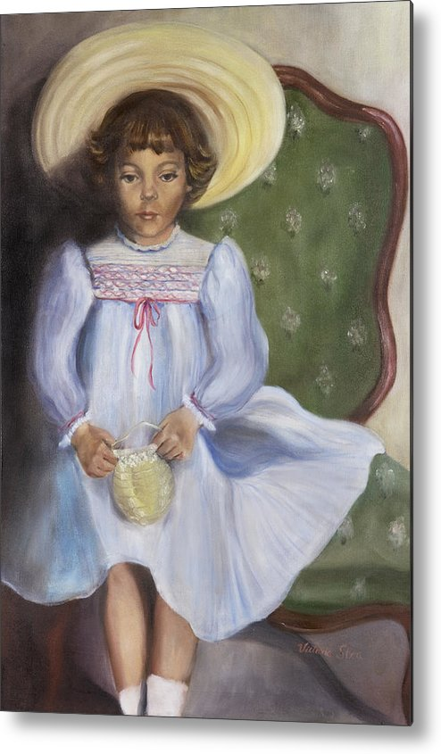 Portrait Metal Print featuring the painting The Straw Hat by Victoria Shea