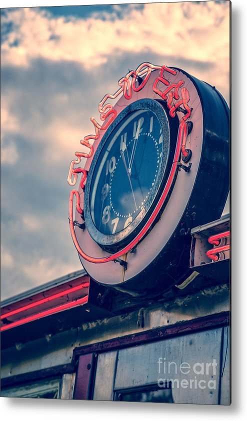 Quechee Metal Print featuring the photograph Time To Eat Neon Diner Clock by Edward Fielding